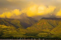 West Maui Mountains. Clouds over West Maui Mountains stock photography