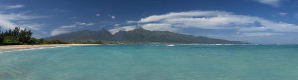 West Maui mountains from Kanaha Beach Park, north shore, Maui, Hawaii Royalty Free Stock Photos