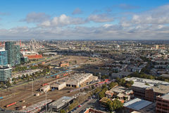 West Melbourne with Bombardier tram depot and Star Observation W Royalty Free Stock Photos