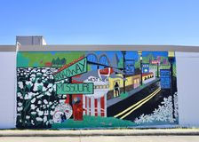 West Memphis Arkansas Painting. A colorful mural painted on a building details a quick history of West Memphis Arkansas, Arkansas is the largest city in stock image