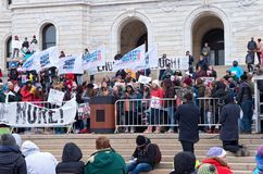 West Metro Walkout Activist at Podium. Saint Paul, Minnesota, USA – MARCH 24, 2018: Students from West Metro Walkout activist group take to the podium at State Stock Photography