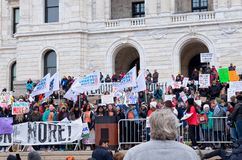 West Metro Walkout Activists Speak at Rally. Saint Paul, Minnesota, USA – MARCH 24, 2018: Students from West Metro Walkout activist group take to the podium at Royalty Free Stock Photography