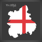 West Midlands map with flag of England illustration Stock Image