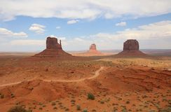 West Mitten Butte, East Mitten Butte and Merrick Butte in Monument Valley. Arizona. USA royalty free stock photo