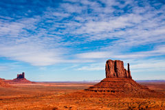 West Mitten Butte Landscape. West Mitten butte in Monument Valley Tribal Park, Arizona Royalty Free Stock Images