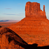 West Mitten at Sunset. West Mitten butte at sunset in Monument Valley Tribal Park, Arizona royalty free stock photography