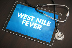 West Nile fever (infectious disease) diagnosis medical concept. On tablet screen with stethoscope Stock Photo