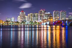 West Palm Beach. Florida nighttime skyline Stock Photo