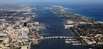 West Palm Beach. Aerial view of West Palm Beach, Palm Beach and Singer Island, Florida Stock Photo