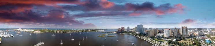 West Palm Beach Coastline in Florida, USA. Panoramic view at sun. Set stock photography