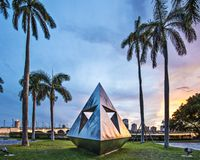 West Palm Beach Florida. WEST PALM BEACH, FLORIDA - JUNE 25, 2013: Intetra by Isamu Noguchi. The artist is known for his sculptures and public works Stock Images