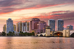 West Palm Beach Florida. West Palm Beach, Florida, USA skyline on the Intracoastal Waterway Royalty Free Stock Images