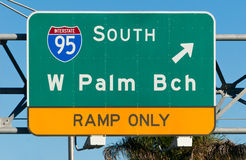 West Palm Beach Highway Sign Royalty Free Stock Photos