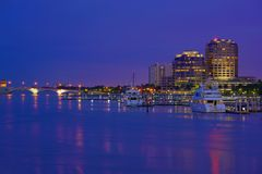 West Palm Beach Skyline. Downtown West Palm Beach at Night, Florida, United States stock images