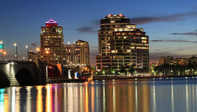 West Palm Beach Skyline at night Stock Photo