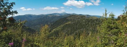 West panorama view from Havrania Polana in Nizke Tatry mountains Stock Photos