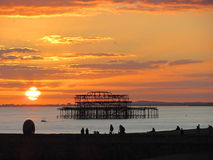 The West Pier, Brighton, England. Sunset scene at Brighton Stock Image