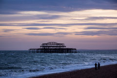 West Pier Ruins at Sunset, Brighton Beach, England Royalty Free Stock Photography