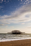 West Pier Ruins at Sunset, Brighton Beach, England Royalty Free Stock Images