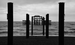 West pier Silhouette. A Black and White silhouette of West Pier in Brighton Royalty Free Stock Photography