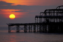West Pier at Sun Set. Brighton and Hove`s West Pier at sun set Royalty Free Stock Photo