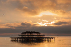 The West Pier at sunset in Brighton Royalty Free Stock Photography