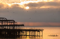 The West Pier at sunset in Brighton Stock Image