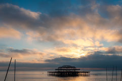The West Pier at sunset in Brighton Stock Images