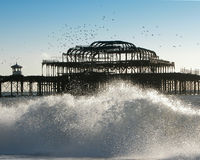 West Pier Waves. A view of the West pier at Xmas royalty free stock photography