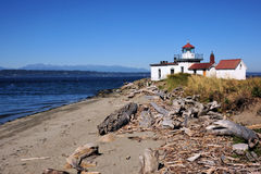 West Point Lighthouse Close. West Point Lighthouse near Discovery Park in Seattle, Washington Stock Images