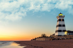 West Point Lighthouse at Sunset Stock Image