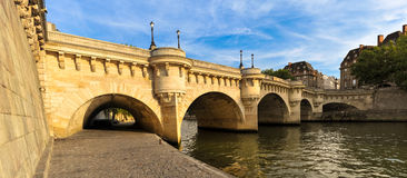 West Pont Neuf. The West side of the Pont Neuf over the Seine River Paris, France at sunset Royalty Free Stock Images