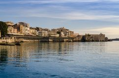 West promenade of the island of Ortigia royalty free stock image