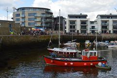 West Quay development and harbour. At West Bay Dorset where the TV series Broadchurch is filmed stock images