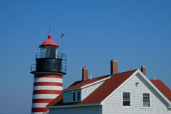 West Quoddy Lighthouse and Keepers quarters Royalty Free Stock Images