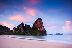 West Railay Bay. Scenic view of rock formations on West Railay Bay beach, Krabi Island, Thailand Stock Image