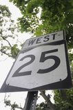 West 25 road street sign of Long Island royalty free stock photo