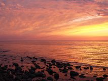 The fire on the Baltic.. Sunset in Rozewie the Baltic sea Royalty Free Stock Photography