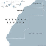 West-Sahara Political Map Lizenzfreie Stockfotografie