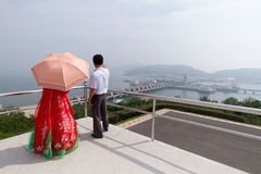 West Sea Barrage (Nampo Dam), North Koreans & Hanbok Royalty Free Stock Images