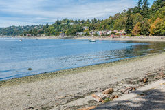 West Seattle Coastline 4. A view of the shoreline in West Seattle, Washington near Lincoln Park stock image