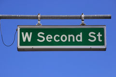 West Second Street sign against blue sky, Reno, Nevada Royalty Free Stock Photo
