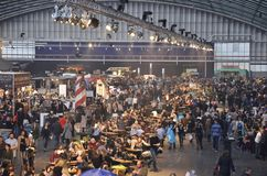The west section of the Foodfestival. Amsterdam, the Netherlands - November 29, 2015: The crowded mid-section with the Restaurant Jackson Dubois in the Europe Royalty Free Stock Photo