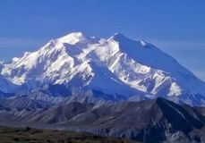 West side Denali. West side of snow covered Denali Mountain Stock Photo