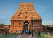 West side of entrance Gopuram at Brihadeswarar temple. Stock Image