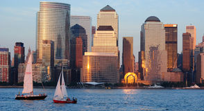 West side of Manhattan. West side of lower Manhattan New York City and Hudson River with leisure sails Stock Photography