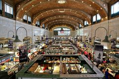West Side market. Westside Market built in the Neo-Classical/Byzantine architecture style in the Ohio City neighborhood, Cleveland, Ohio USA, National Register Royalty Free Stock Photos