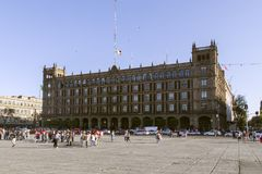 The west side of the square Zocalo in Mexico City. The west side of the square Zocalo in Mexico City where beautiful historic buildings flank the largest square stock photos