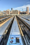 West Side Yard. The West Side Train Yard for Pennsylvania Station in New York City from the Highline. View of the railcars for the Long Island Railroad. The Stock Photography