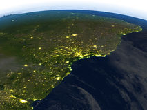 West of South America at night on planet Earth Stock Photo
